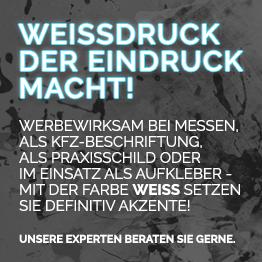 Weissdruck bei Werbung Total Berlin